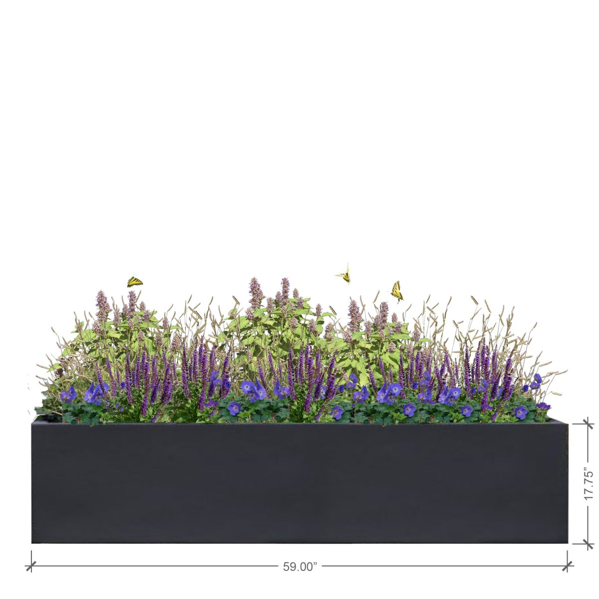 Large Rectangle Charcoal Planter, BLOOMTIME