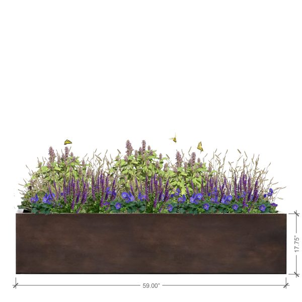 Large Rectangle Rust Planter, BLOOMTIME