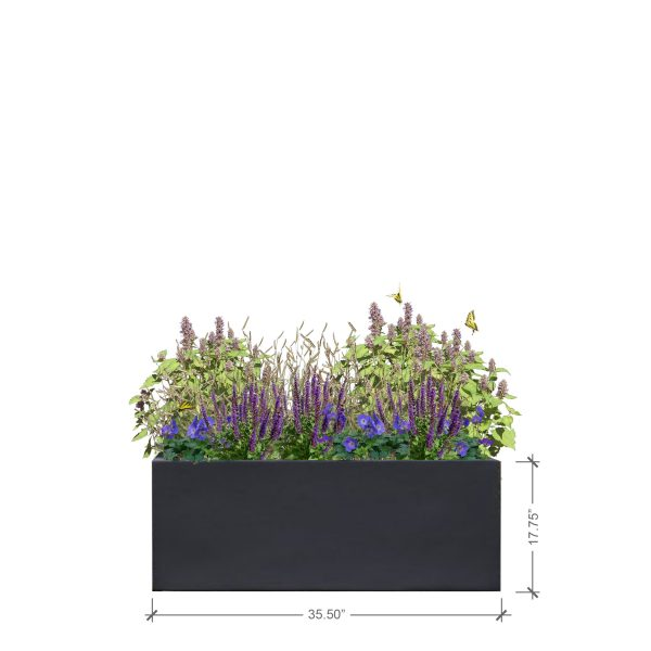 Medium Lead Rectangle Planter, BLOOMTIME