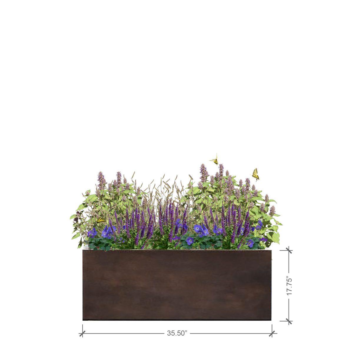 Medium Rust Rectangle Planter, BLOOMTIME