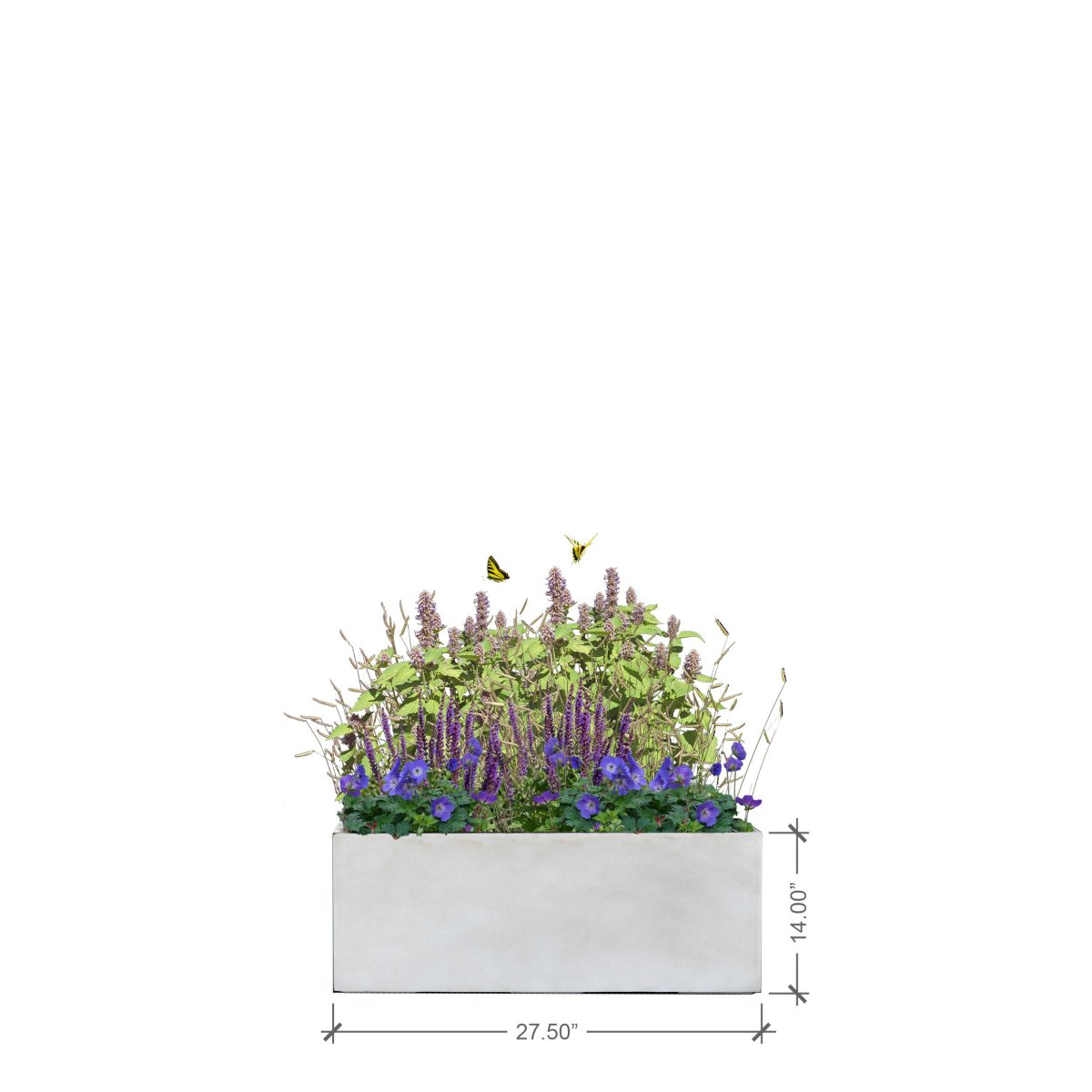 Small Ivory Rectangle Planter, BLOOMTIME
