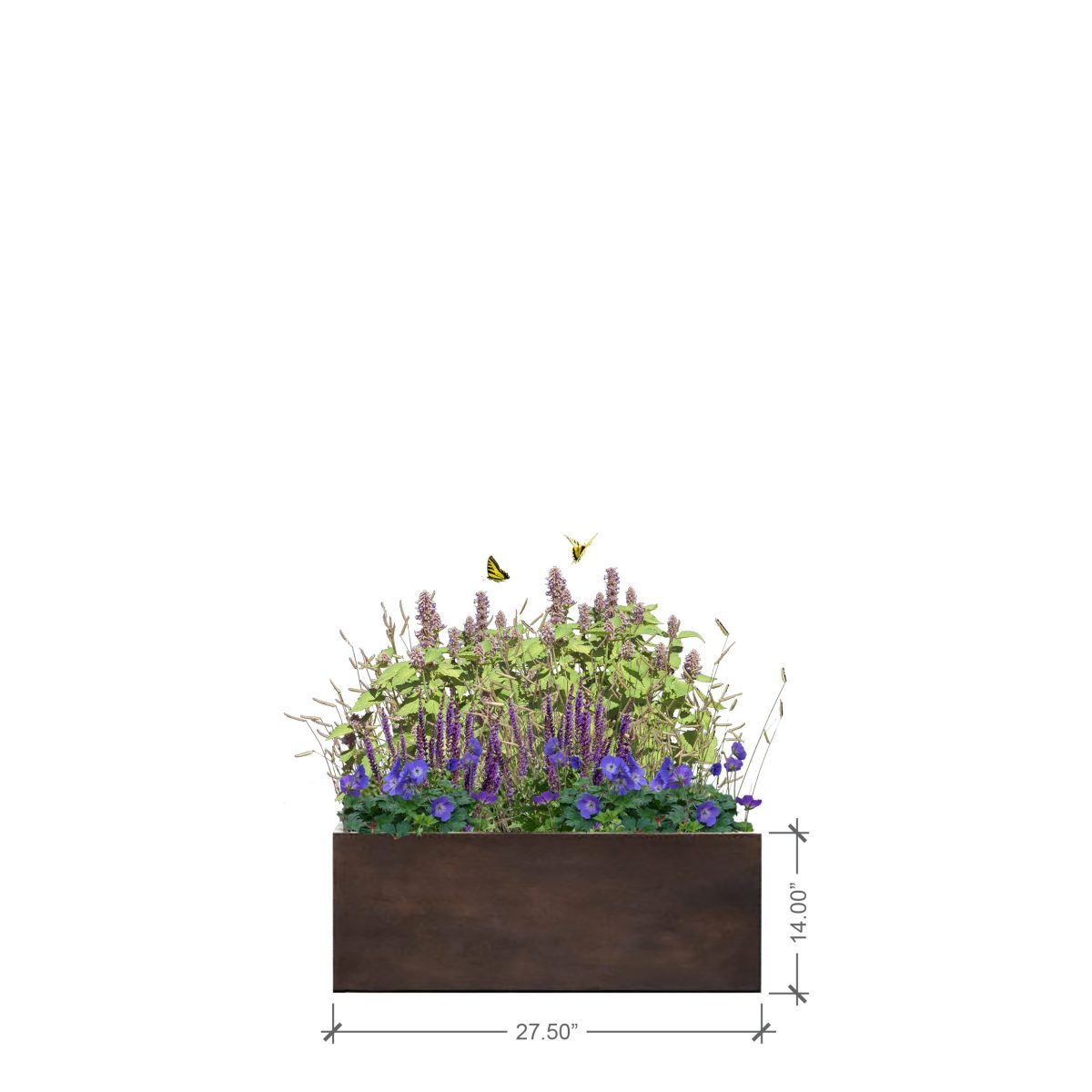 Small Rust Rectangle Planter, BLOOMTIME