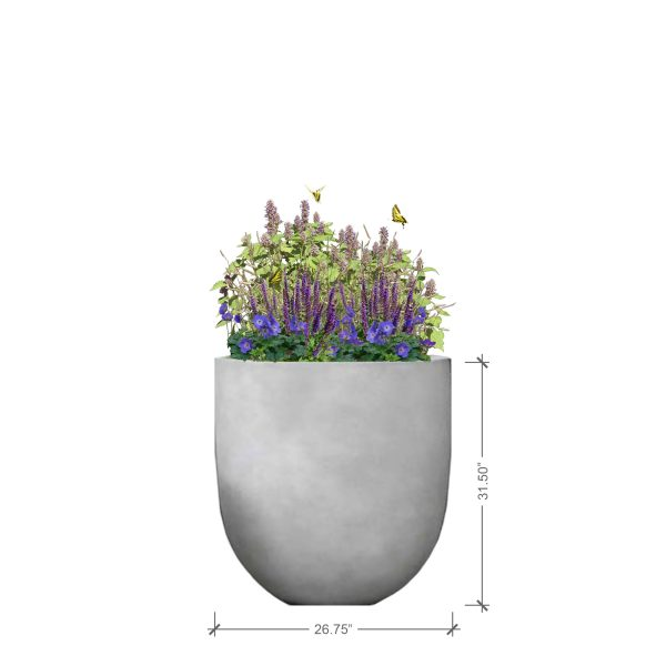 Large Round Charcoal Planter with Purple Lover Plant Palette, BLOOMTIME