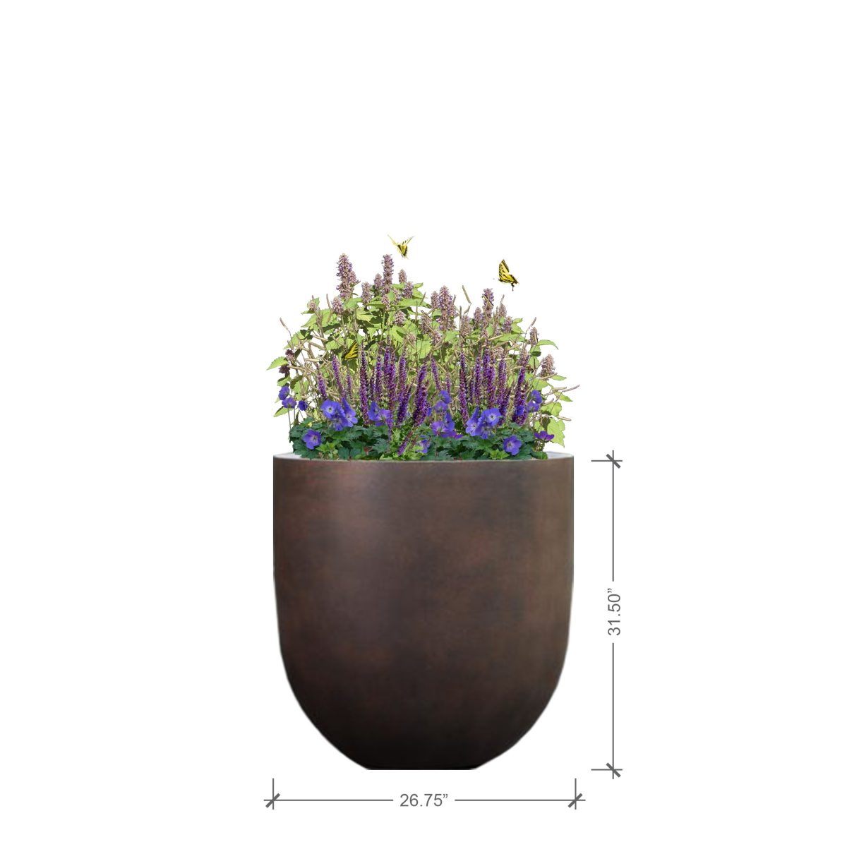 Large Round Rust Planter with Purple Lover Plant Palette, BLOOMTIME