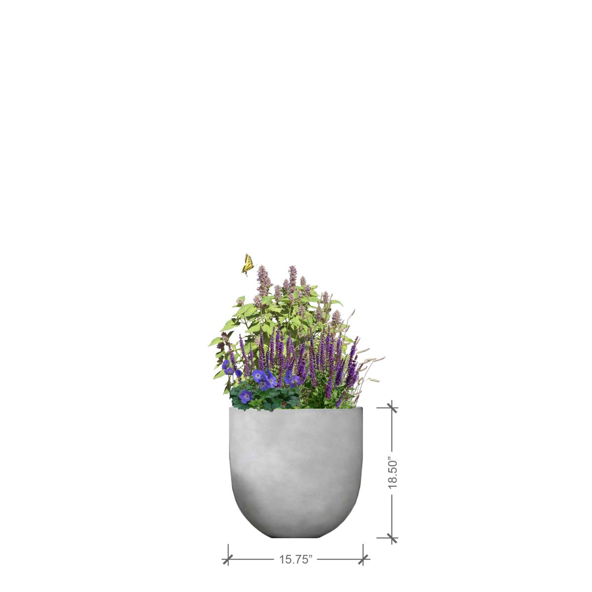 Small Round Ivory Planter, BLOOMTIME