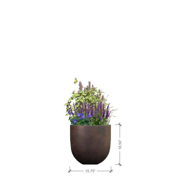 Small Round Rust Planter, BLOOMTIME