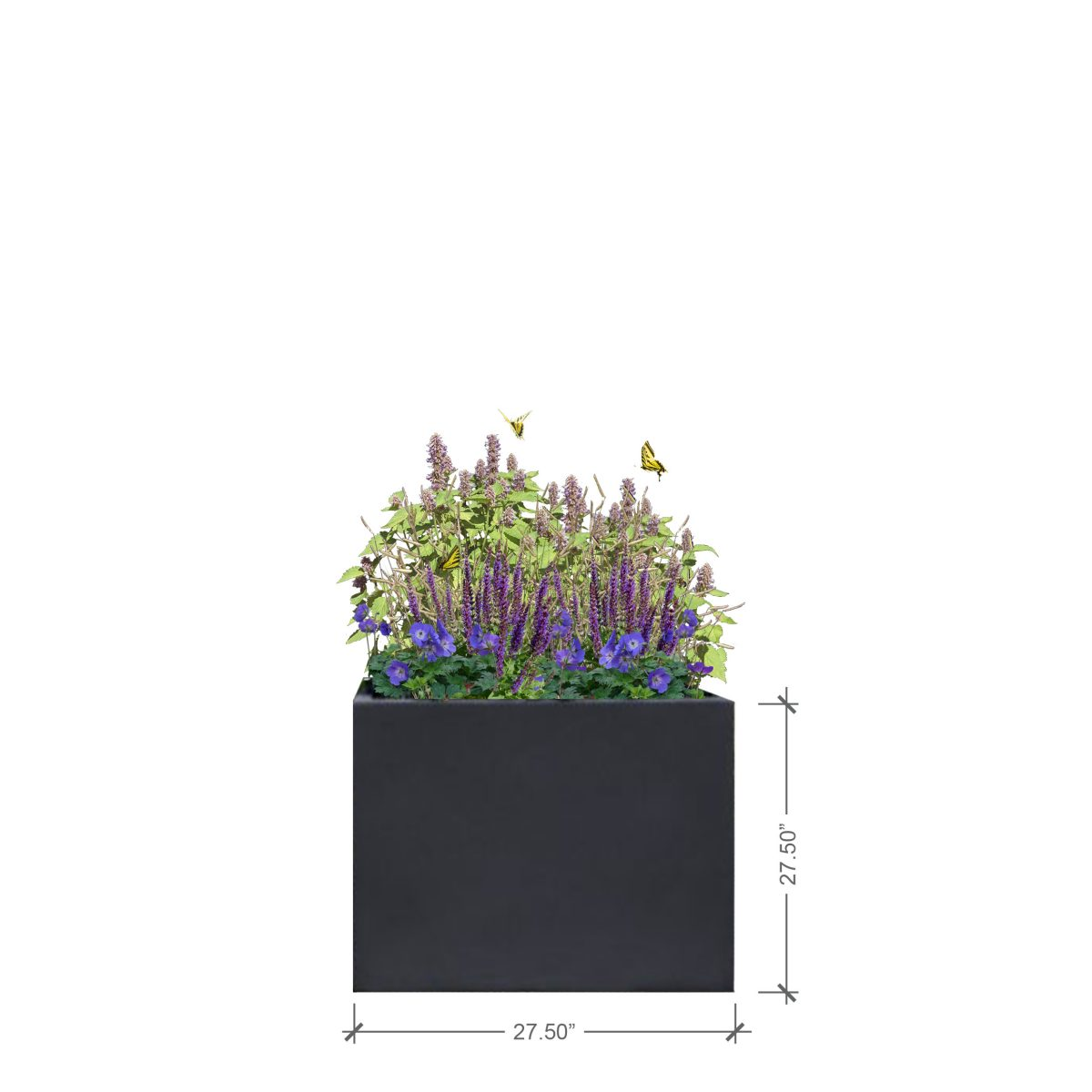 Large Charcoal Square Planter, BLOOMTIME