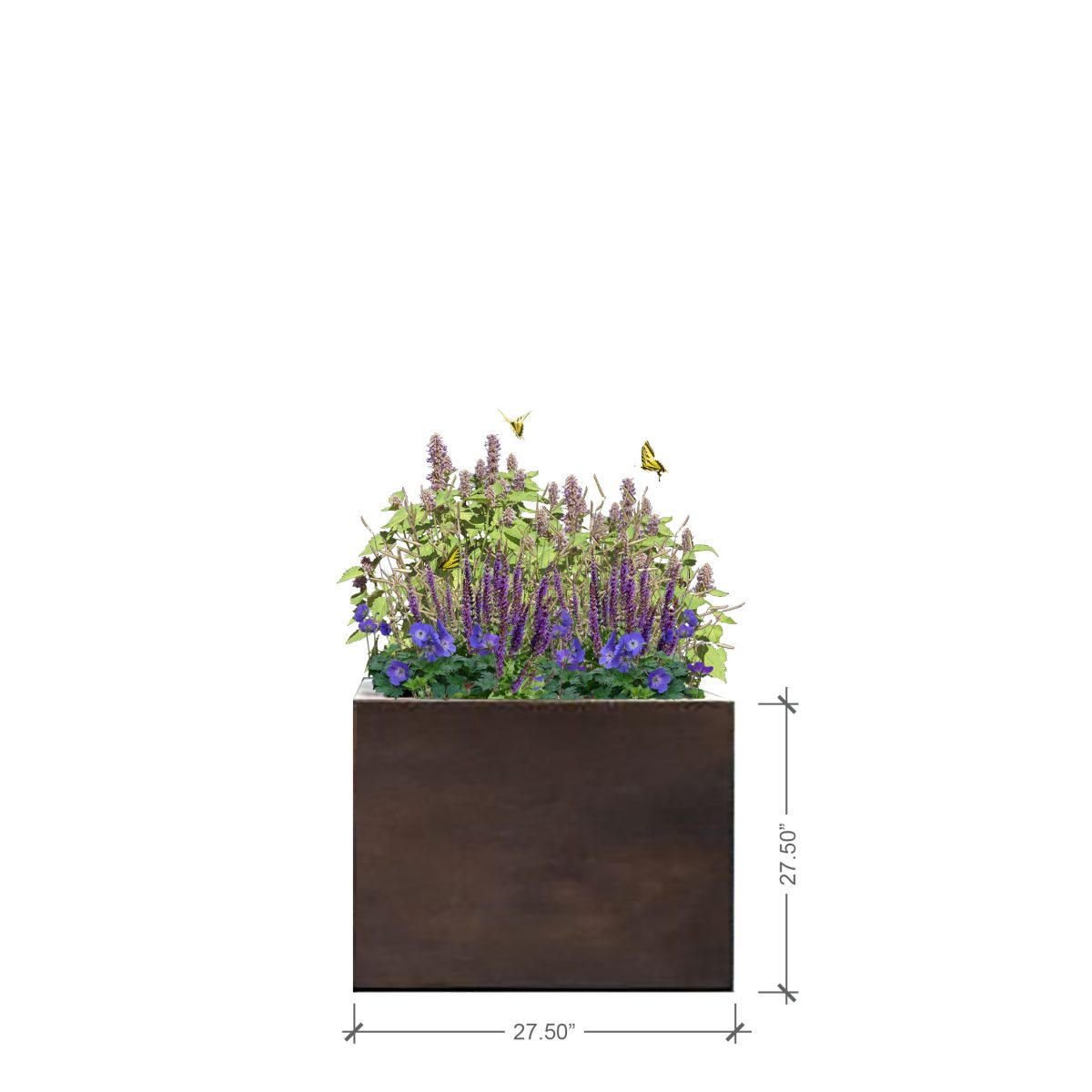 Large Rust Square Planter, BLOOMTIME