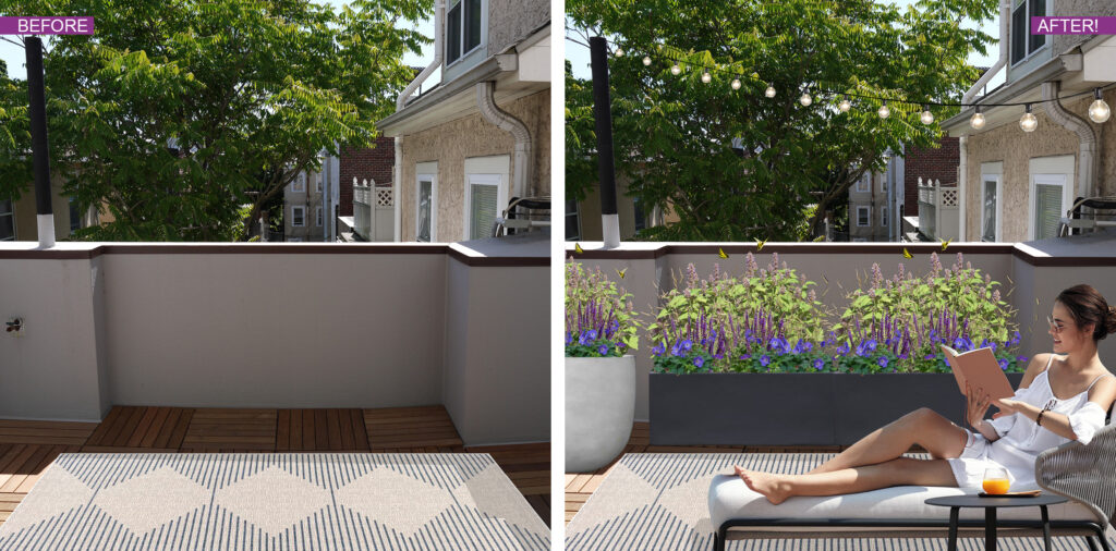 Before and After photo of patio area with DIY planter kit, BLOOMTIME