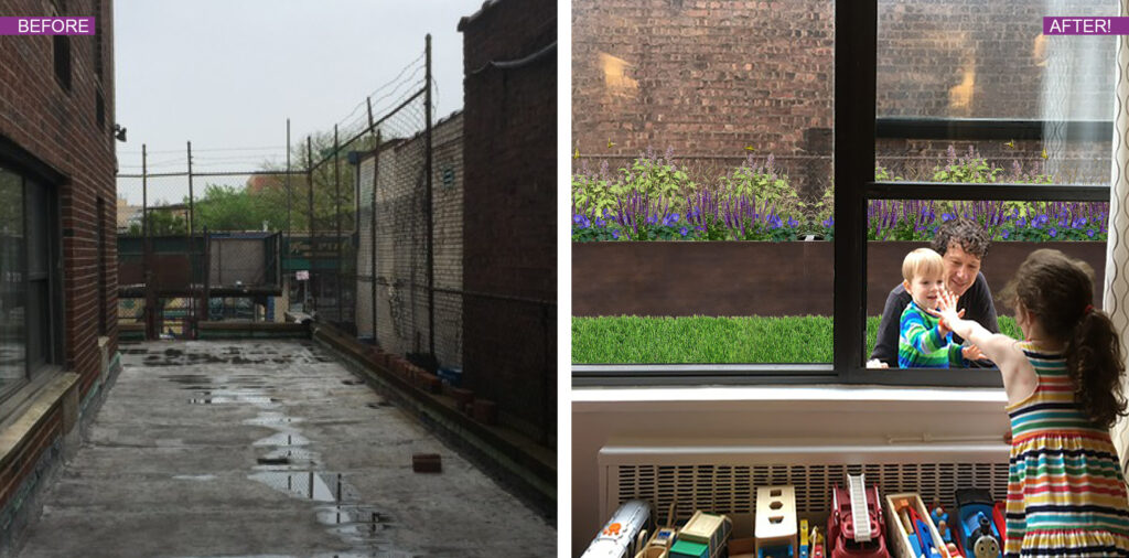 Before and After Photo of city cement yard area with DIY planter kit, BLOOMTIME