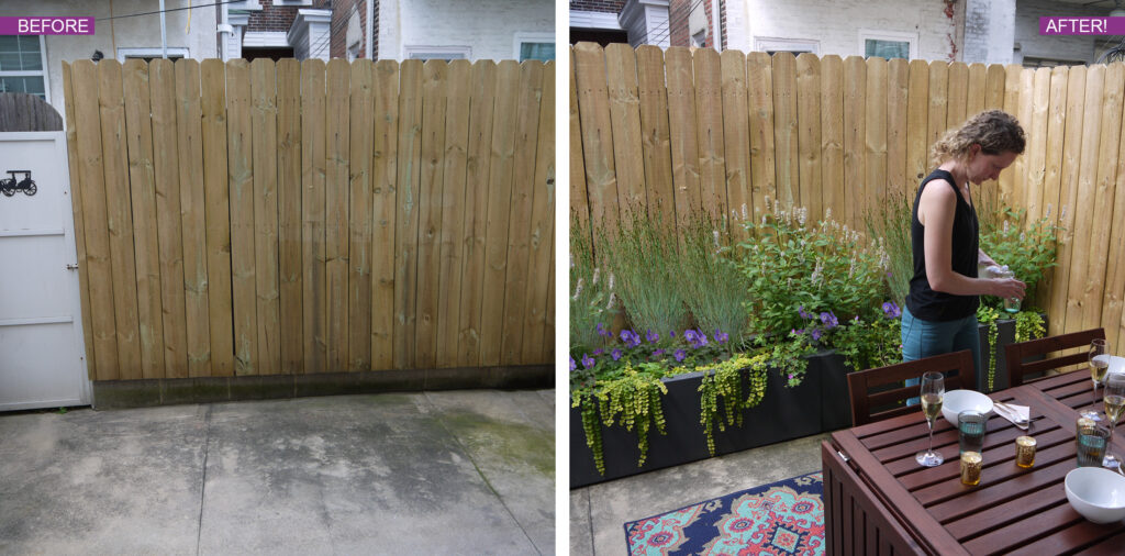 Before and After photo of fenced patio area with DIY planter kit, BLOOMTIME