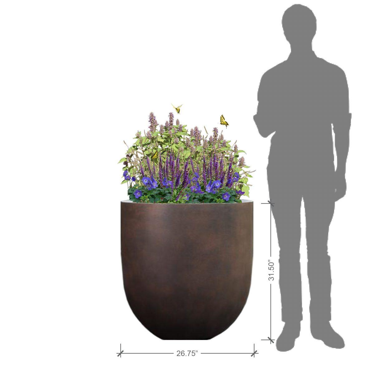 Large Cylindrical Rust Planter Kit